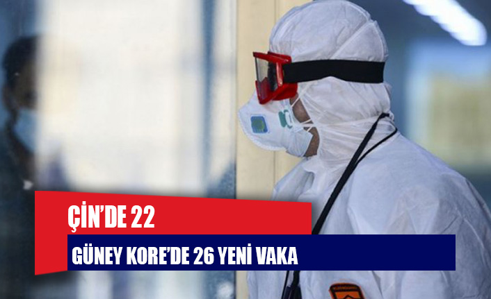 Çin'de 22, Güney Kore'de 26 yeni vaka