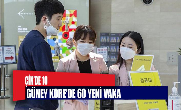 Son 24 saatte Çin'de 10, Güney Kore'de 60 yeni vaka