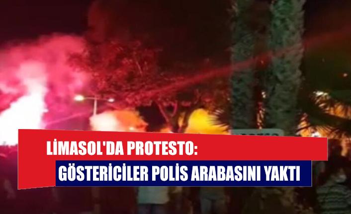 Limasol'da protesto: Göstericiler polis arabasını yaktı