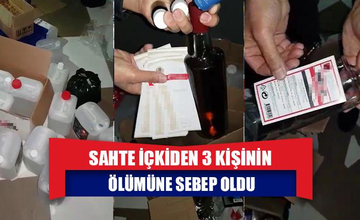 Sahte içkiden 3 kişinin ölümüne sebep olan şahsın imalathanesine baskın