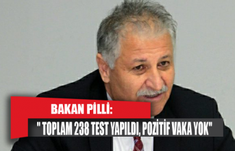 """Bakan Pilli:"""" Toplam 238 test yapıldı, pozitif vaka yok"""""""