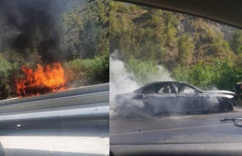 Ciklos'ta araç cayır cayır yandı!