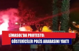 Limasol'da protesto: Göstericiler polis arabasını...