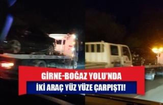 Girne-Boğaz Yolu'nda iki araç yüz yüze çarpıştı!