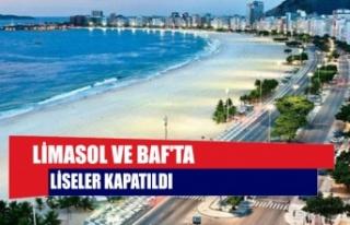 Limasol ve Baf'ta liseler kapatıldı