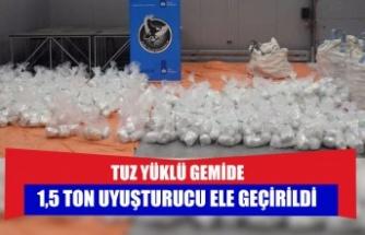 tuz yüklü gemide 1,5 ton uyuşturucu ele geçirildi