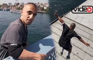 Çılgın genç Galata Köprüsü'nden geminin üstüne atladı